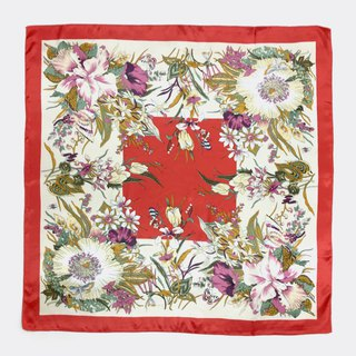 Red Classical Vintage Flower Antique Scarf BL0032