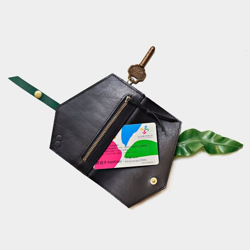 【Material of the jungle nocturne material】 leather leather case black green leather can put card leisure card card credit card coin purse x card clip folder carved letter when the gift Valentine's Day gift