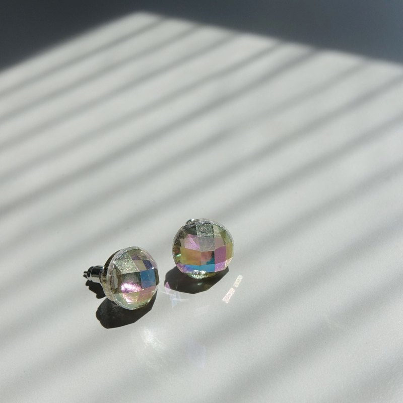 Transparent resin bright diamond earrings - large