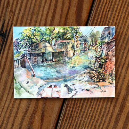 Painting Crazy Series Postcard - Backstreet Rake