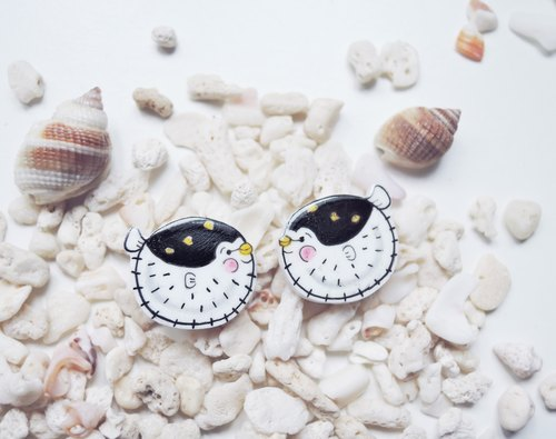 I am very small baby puffer fish earrings anti-allergy ear ear painless ear clip