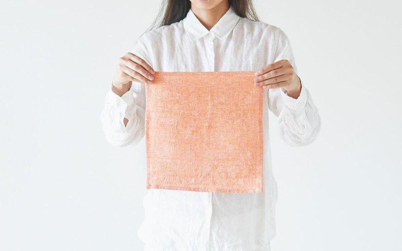 Chambray linen mini cloth (solid color / orange)