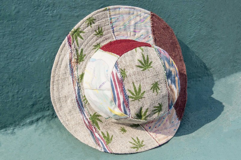 South American wind stitching hand-woven cotton cap hat cap fisherman hat visor - leaves forest