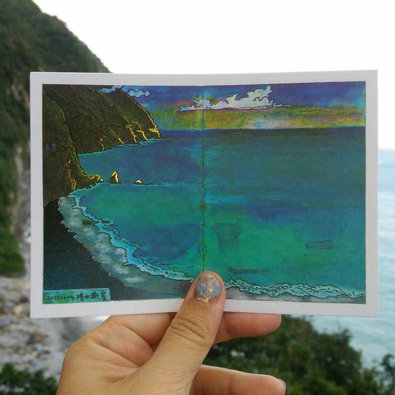 Liuyingchieh Books ※ bronzing hot water cliff postcard