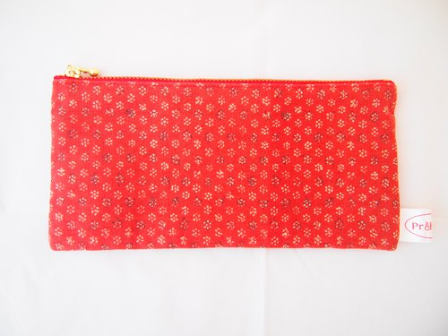 Japan Kyoto flowers and honeycomb pattern with a word zipper bag