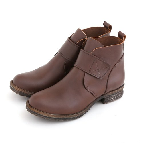 Maffeo Boots Antique 90s Wenqing Devil Felt Handmade Leather Booties Motorcycle Boots (9840 Coffee)