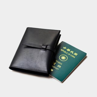 [Mafia of the mountain card] Vegetable tanned leather passport sets of black leather passport folder travel abroad must pass guest lettering when the gift Valentine's Day gift