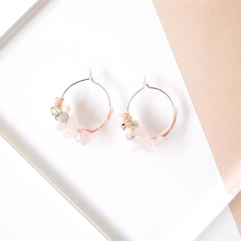 colour of seasons Spring Rose Quartz Crystal Gemstone Silver Earrings