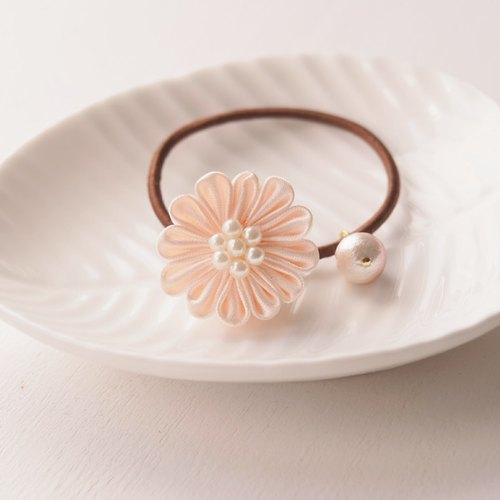 Nude Satin Flower Hair Tie
