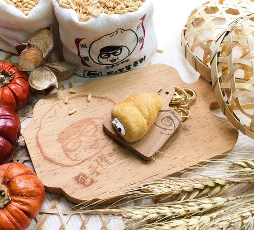 【Package hand made chopsticks keychain - Spiral cream bread (pin, magnet, chopping board keychain, A 嫲 bag pin / key ring variety of any take)
