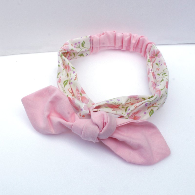 Pink flower dual use hair band