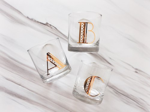 Gold Monogrammed Customized Whiskey Lowball Glasses - Cocktail Glasses ( 1 glass