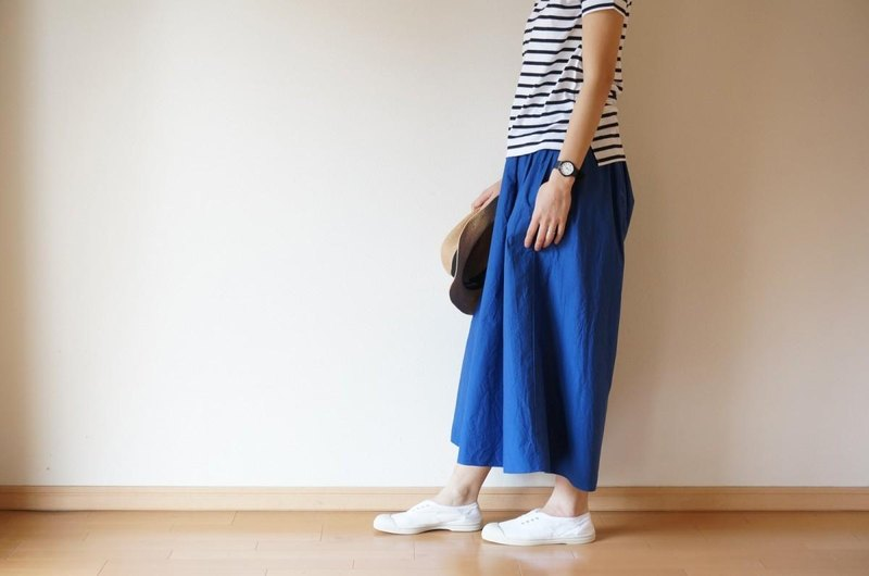 Cotton typewriter wide pants BLUE