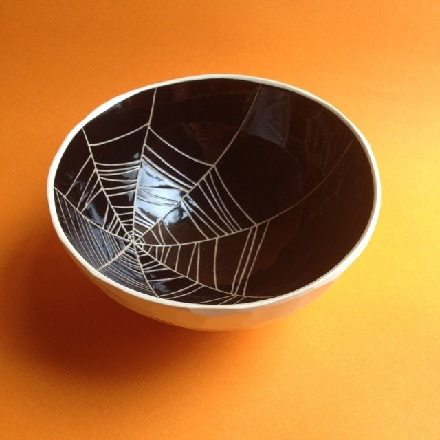 Bowl / bowl (spider web) black bowl (spider web) black