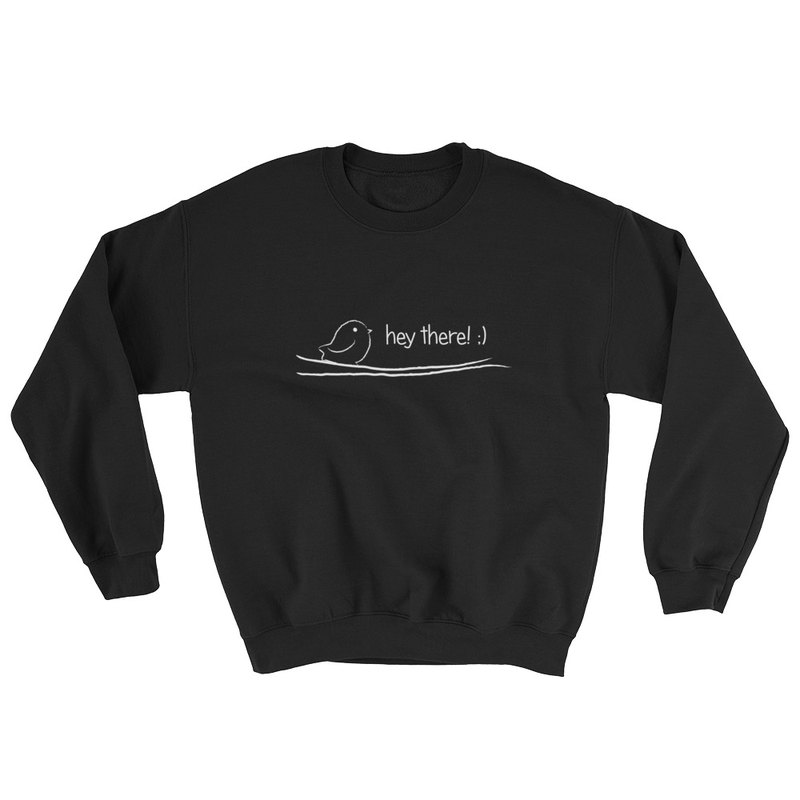 Crewneck SweatShirt - Greeting Bird (Black)