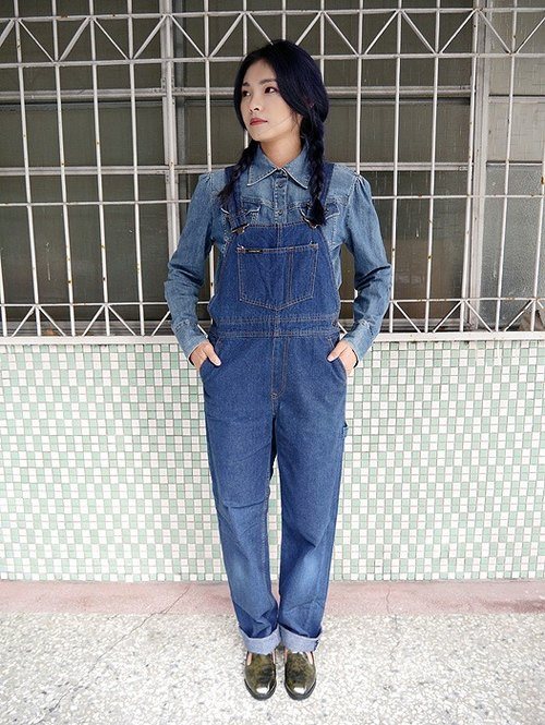 ♦♦ ◈ invincible children music vintage Japanese input line ◈ ♦♦ classic vintage CLEMENTINE primary color drop tannins denim trousers suspenders boyish Antiques