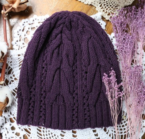 Handmade - Twist grape - light sense - wool cap