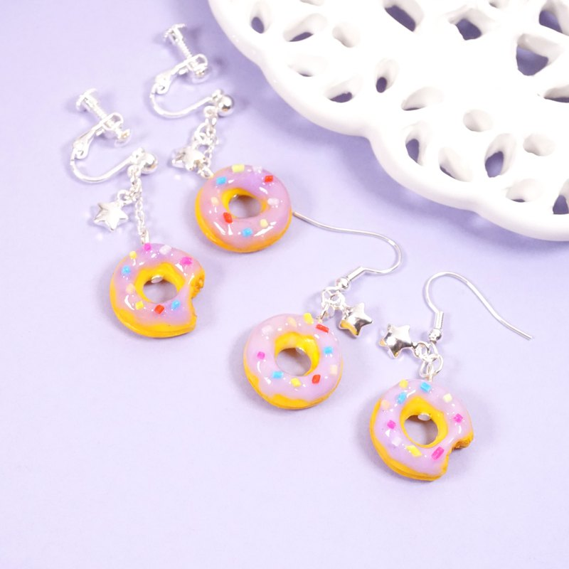 *Playful Design*  Lavender Favour Donuts Drop Earrings