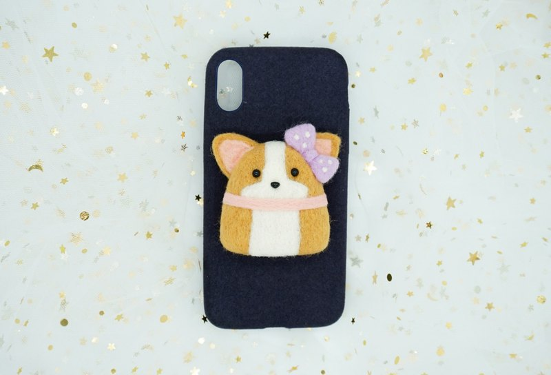 MoonMade original handmade dog wool felt phone shell Corgi phone shell burst cute Christmas New Year gift birthday gift Iphone X 6 7 8 Plus
