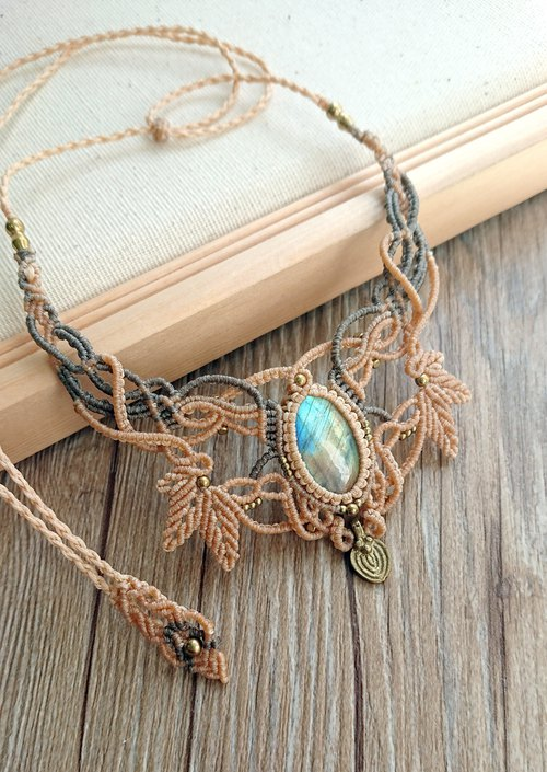 N42 Bohemian ethnic style two-tone South American wax braided brass Labradorite necklace clavicle chain