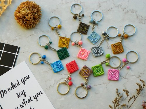 | mOments | Circle Rendering Whirlpool Multicolor Boulder Keychain Colorful Rendered Swirl Keychains