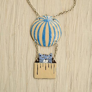 Enamel Necklace, Cat Necklace, Cat Pendant, Air Balloon, Cat With Air Balloon, Boho Necklace, Cat Jewelry, Air Ballon Necklace, Cats,