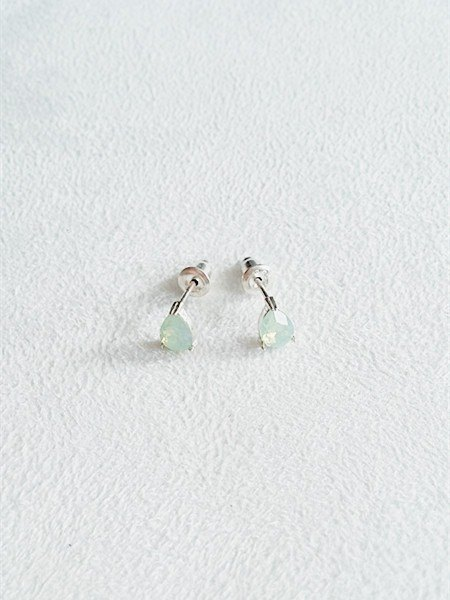 6mm pear-shaped glass/Green/Water droplets/Earrings/Swarovski Crystal/Sterling Silver/By hand【ZHÀO】SZE1662