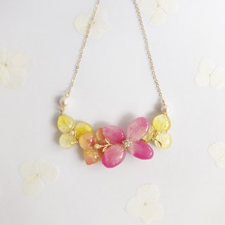 Flower jewellery Real flower Necklace Cherry and Yellow 18KGP Cotton Pearl