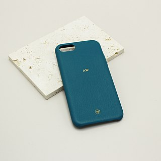 Customized Multicolor Real Leather Macaron Dream Color Blue Green Lake Water Green iPhone Case