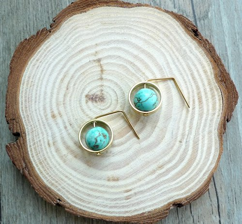 Misssheep- BN11- Green Planet Pin Ear Simple Brass Turquoise Earrings