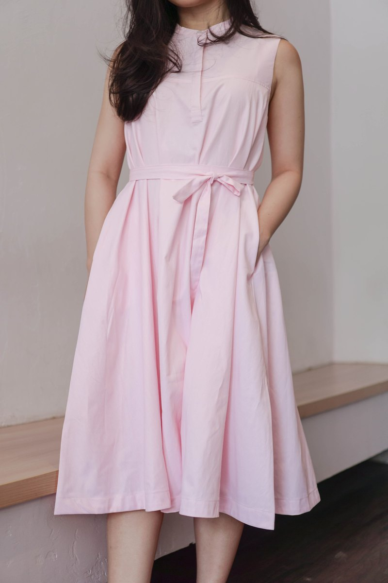 Pink Belted Dress with Mao Collar