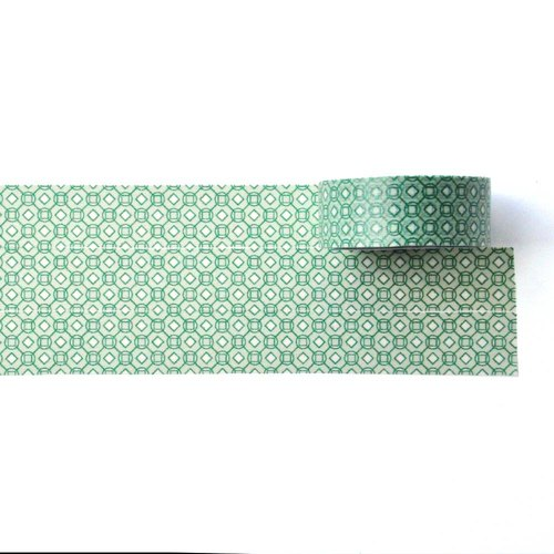 Green Mosaic washi tape 15mm x 10m - Geometric pattern that can be repeated