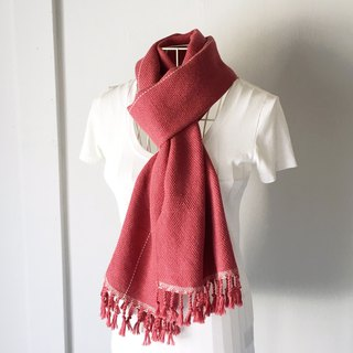 "Unisex hand-woven scarf ""Cherry with White lines"""