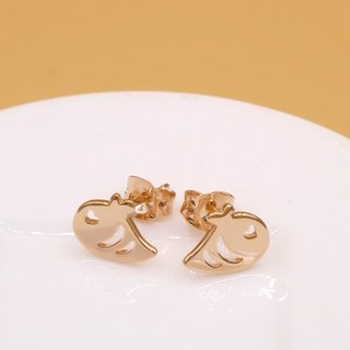 Handmade Little Bee Earring - Pink gold plated on brass