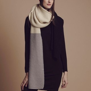 CREAM/BLACK/GREY LARGE COLOURBLOCK SCARF