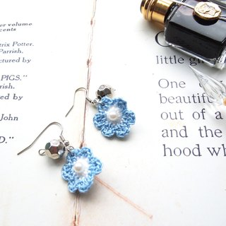 French light blue with white lace hand woven wire line flower earrings BE018