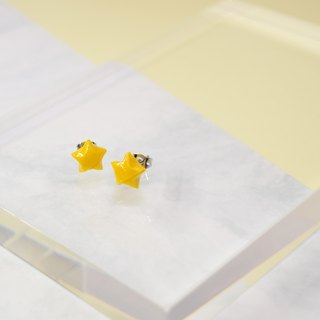 Cute Little Yellow Lucky Star Handmade Earrings