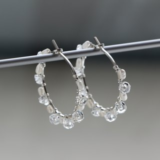 SV935(Argentium)-pure crystal pearl pierced earrings (small size) 不能改耳夾