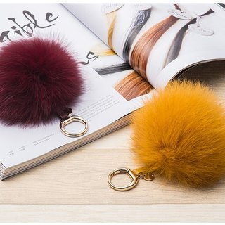 Leather fox fur ball bag pendant (small)