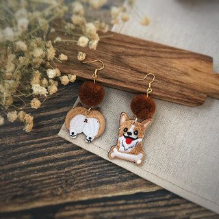 Littdlework Hand Embroidered Earrings | Corgi Ass Pomadel <925 sliver>