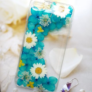 Pressed flowers phone case, Elegant blue