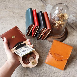Thin compact wallet (side open) / two leather Nume leather