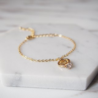 Valentine's Day Gifts, I Will, Mini Rings, Customized, English Letters, Gold Plated Chain Bracelet Bracelets