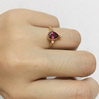 Pink Tourmaline Diamond 18 carat Gold Handmade in Nepal Customize