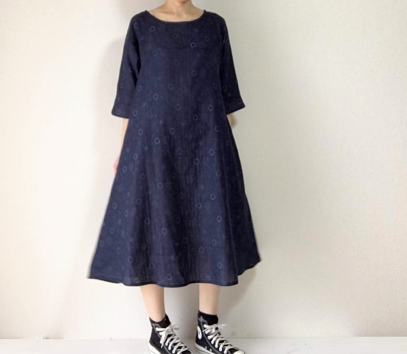 Dandelion and Soap Bubble Sleeve Flare One Piece Dress Double Gauze Dark Navy