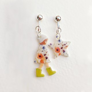 Small Q Series - Pensive girl handmade goods original illustration flower dress little girl with stars / clip earrings gift