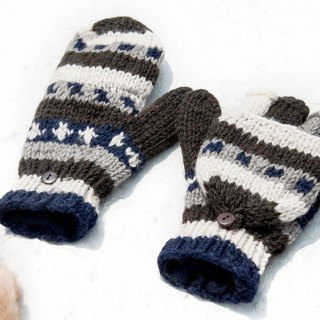 Hand-knitted pure wool knit gloves / detachable gloves / inner bristled gloves / warm gloves - natural forest