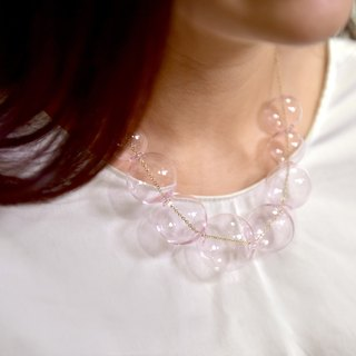 PERLA PINK - Pink Glass Bubbles Pearl Necklace