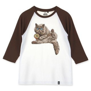 AMO®Original canned cotton adult 3/4 Raglan T-Shirt/AKE/The Cat worring It's Lollipop Being Snatched
