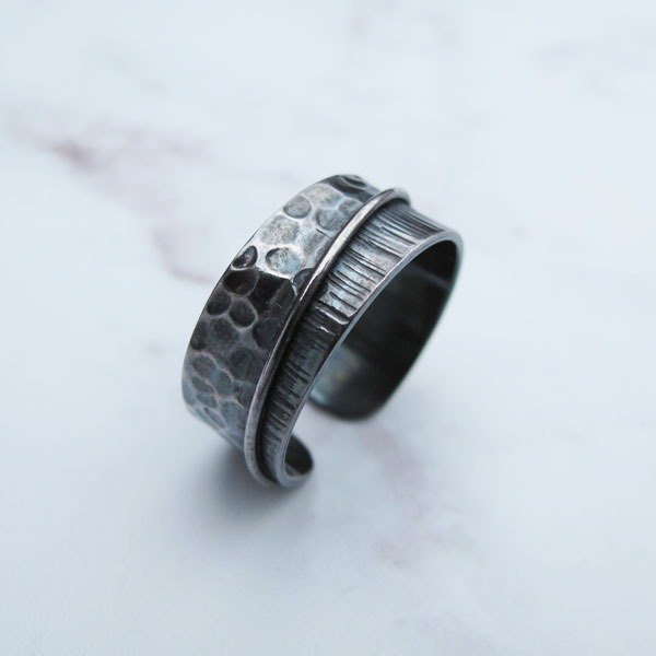 Grand member [manual × custom × DIY] double pattern event 999 sterling silver ring